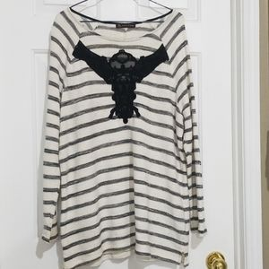 Love & Legend Stripe Sweater with Lace